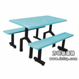 B013蓝色长凳玻璃钢餐桌椅