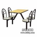 B017镀鉻支架四人整体靠背玻璃钢餐桌椅