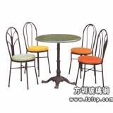 B018四人活动镀鉻支架玻璃钢餐桌椅
