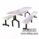 B026白色长椅玻璃钢餐桌椅