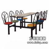 B030八人靠背整体玻璃钢餐桌椅