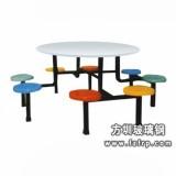B033八人镀鉻支架整体玻璃钢餐桌椅