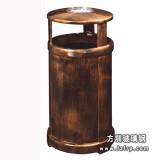 A47室内玻璃钢环保垃圾桶 仿铜单桶垃圾桶