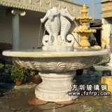 HP183玻璃钢仿砂岩喷泉雕塑制作 街道喷泉花盆批发