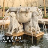HP182玻璃钢装饰砂岩喷泉花盆定做 仿真动物造型喷泉雕塑厂家