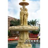HP181玻璃钢人物喷泉花盆设计  小区装饰砂岩人物喷泉雕塑