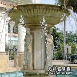 HP180大型广场喷泉花盆生产定做 玻璃钢仿砂岩人物喷泉雕塑厂家