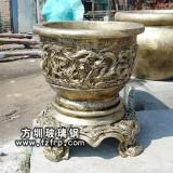HP141玻璃钢复古仿铜观赏花盆
