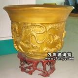 HP094金色复古玻璃钢室内花盆