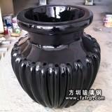 HP076黑色玻璃钢室内花盆—黑色复古室内花盆