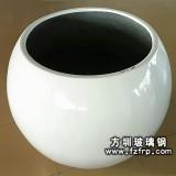 HP074玻璃钢白色室内圆形花盆—简约花盆