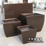 HP004棕色树脂花盆 玻璃钢花盆定做 方形花盆批发