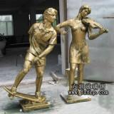 玻璃钢仿铜人物雕塑 广场雕塑生产制作