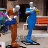 组合式人物拉琴雕塑