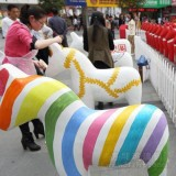 广场彩绘马玻璃钢雕塑