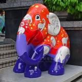 商场玻璃钢大象美陈雕塑