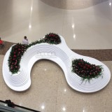 商场休闲椅带花盆玻璃钢工艺品