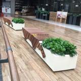 玻璃钢与柚木的结合深圳商场定制创意休闲椅花盆