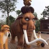 海南公园玻璃钢动物组合雕塑