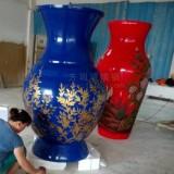 安丘玻璃钢彩绘大花瓶