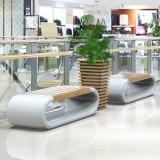 上海商场玻璃钢木艺休息椅