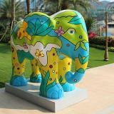 河南玻璃钢彩绘大象雕塑