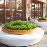 国外玻璃钢圆形公共坐凳带花盆