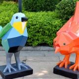 户外玻璃钢菱形小鸟雕塑