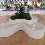 陕西商场玻璃钢创意花盆座椅花瓣造型简约时尚