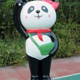 河南校园玻璃钢卡通熊猫雕塑