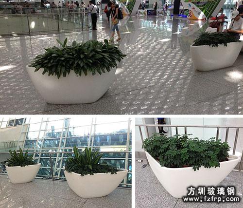 深圳机场大厅玻璃钢花盆实景组图