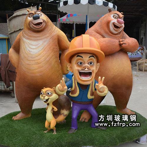 光头强雕塑,熊大熊二卡通雕塑造型