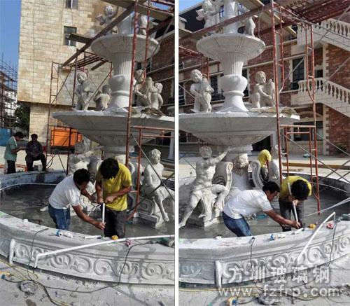 方圳欧式玻璃钢喷泉花盆成为玫瑰小镇新景点
