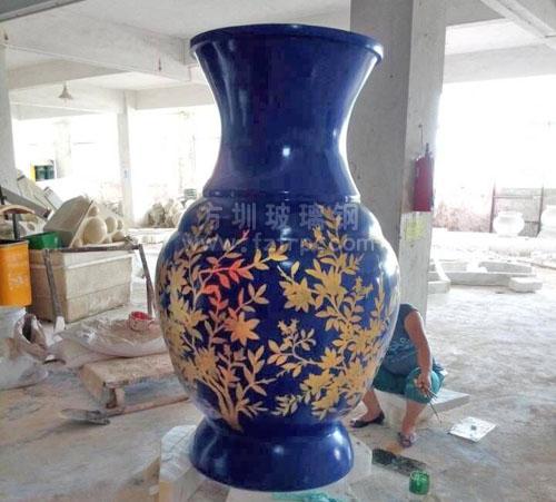 玻璃钢定制大花瓶彩绘图