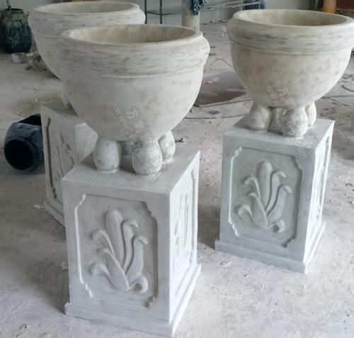 玻璃钢花盆真石漆效果