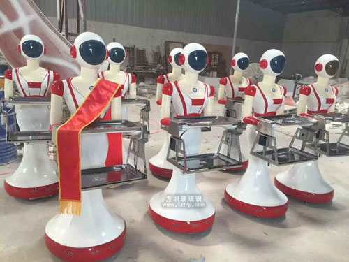 方圳玻璃钢打造个性送餐机器人雕塑
