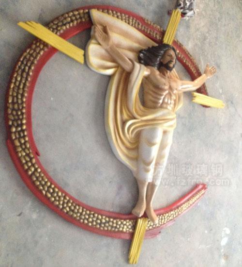 方圳玻璃钢耶稣雕塑工厂生产图
