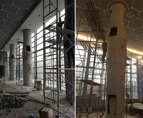 房地产玻璃钢装饰柱现场施工图