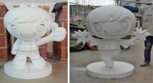玻璃钢卡通人物雕塑采用高密度雕塑泡沫材料造型打样