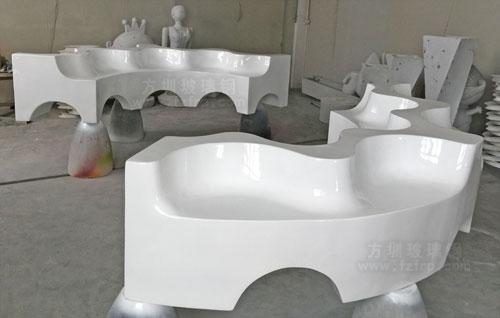 波浪造型玻璃钢休闲椅工厂生产图
