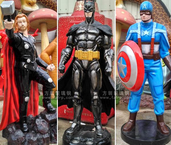 雷神、蝙蝠侠、美国队长玻璃钢卡通雕塑