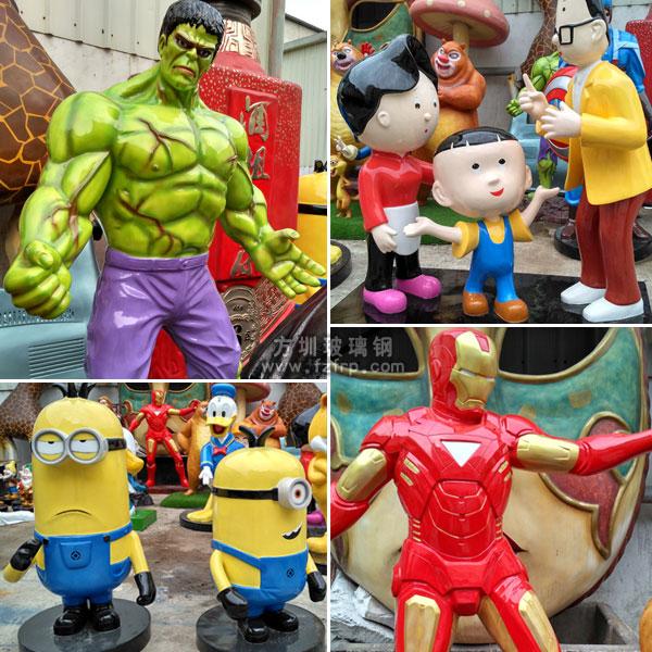 绿巨人、钢铁侠、小黄人、大头儿子动漫卡通雕塑