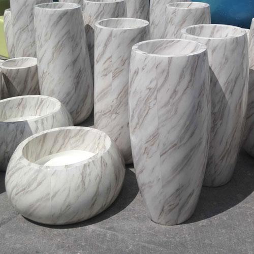 仿大理石玻璃钢花盆