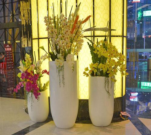 购物中心玻璃钢美陈组合花瓶