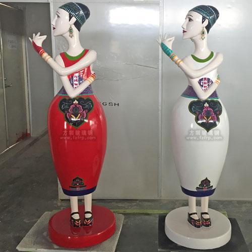 玻璃钢美少女企业形象雕塑
