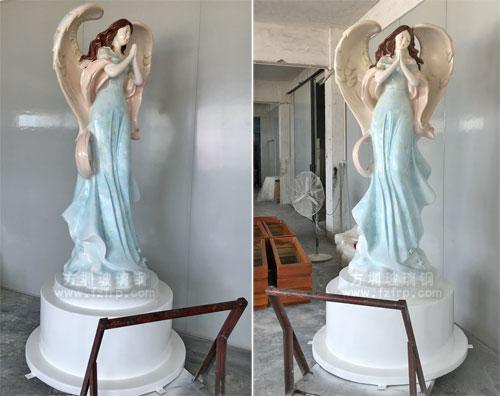 广西柳州门诊玻璃钢抽象天使雕塑工厂多角度展示