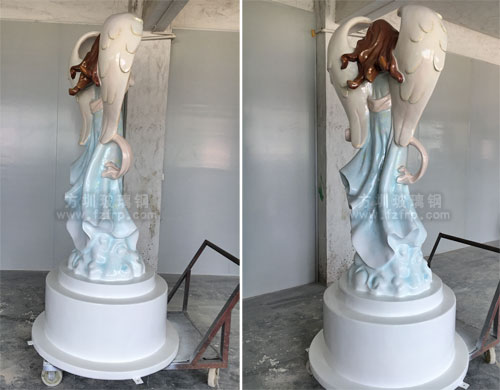广西柳州门诊玻璃钢抽象天使雕塑背面多角度展示