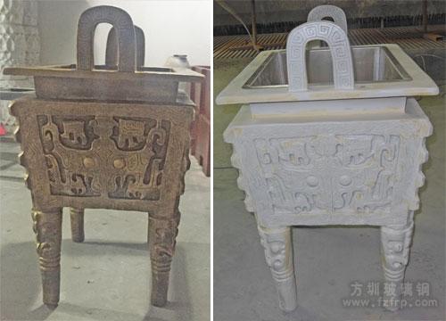 深圳火锅店仿铜玻璃钢鼎雕塑工厂生产图