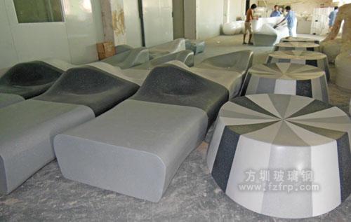 佛山房地产批量采购玻璃钢座椅工厂成品车间图