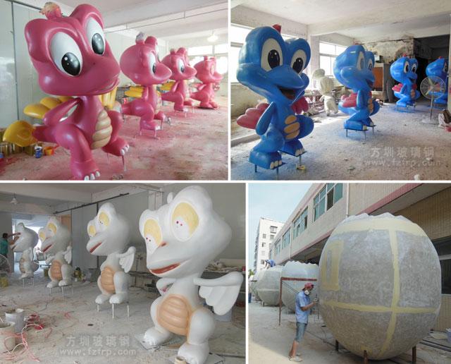 河源玻璃钢恐龙及恐龙蛋大型城市景观雕塑工厂生产图